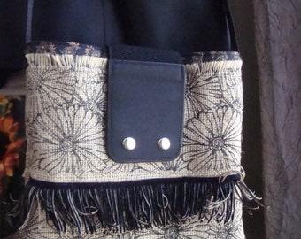 Burlap/Cotton Bag OOAK by Paulette