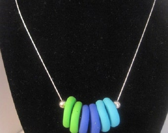 Polymer clay disk bead necklace with silver chain