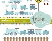 Blue Trains Clipart - Railroad Crossing Clipart - Railroad Clipart - Train Clipart - Clipart Set of 11 - COMMERCIAL USE Read Terms Below