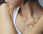 Honeycomb necklace, hexagon art asymmetric.  Handmade gold necklace, statement necklace.