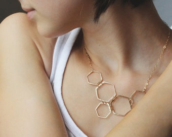 Honeycomb necklace, asymmetric necklace, hexagon necklace, statement necklace,  handmade jewelry, modern geometric jewelry