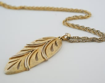 Necklace - Long Gold Leaf Articulated Pendant
