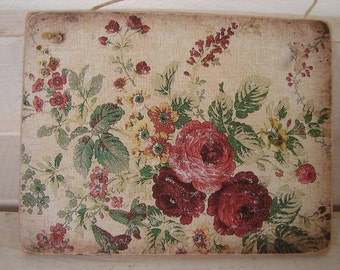French shabby chic, Victorian style wallpaper on wooden tag with old string to hang on dresser/door