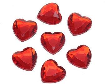 18mm Red Heart Rhinestones (16pc)