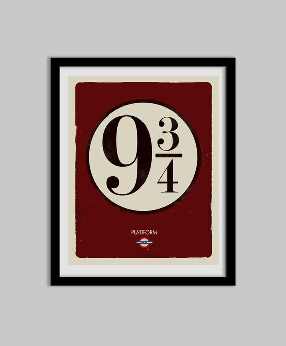 Harry Potter Typography 9 3 4 Platform Sign Harry