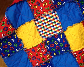 Fall Sale-123 - Small Cotton Rag Quilt - Primary Colors - Lovie, Doll Blanket, Play School