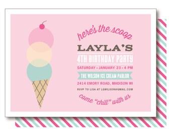 Ice Cream Invitations, Ice Cream Parlor Birthday, Ice Cream Cone Invitation, Printed or Printable