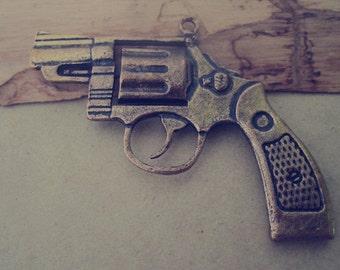 3pcs of Antique bronze Double sided gun charm pendant  55mmx80mm