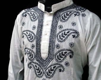 Plus size clothing for mens white dress hippie clothes kurti tunic pattern Indian salwar kameez handmade sherwani romantic love gift for him