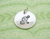 Sterling Silver Hand Stamped Circle Charm 1/2 inch disc