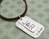 Men's Dog Tag Necklace / Personalized Charm / Initials and Date