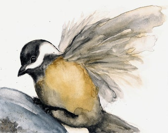 """Chickadee Bird Print from Watercolor Bird Painting """"Soft Landing"""", 5"""" x 7"""", Grey Brown White and Gold"""