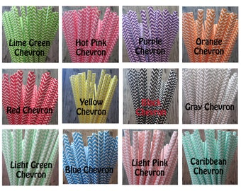Chevron Paper Straw ~ Drinking Straws ~ Party Straw ~ Cake Pop Straw ~ 25 or 50