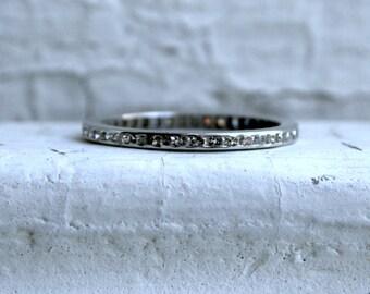 Vintage Platinum Diamond Eternity Wedding Band - 0.69ct.