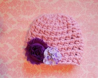 Perfect pink beanie with your choice of flowers/ Newborn hat/ baby girl hat
