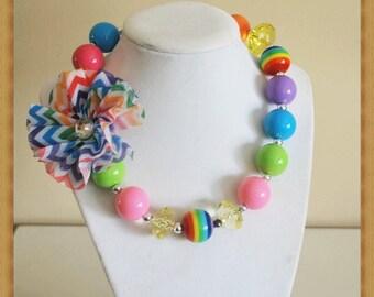 Rainbow Shabby Chic Chunky Necklace