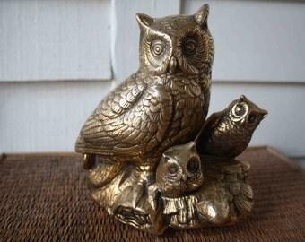 Vintage brass owls, Halloween, Halloween decoration, vintage Halloween