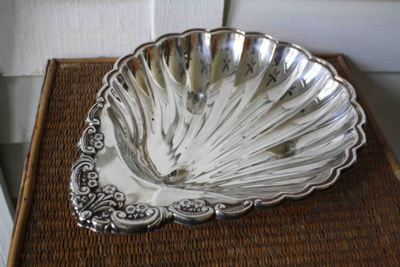 silver tray, shell, Sheridan