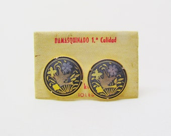 Vintage Damascene cuff links made in Spain, c.1960's cuff links