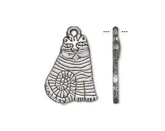 Antique Silver Pewter Cat Charm, 18x14mm Single Sided - 6 Charms