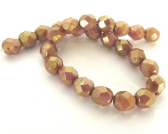 25 Luster Opaque Rose Gold Topaz Firepolished Faceted 6mm Czech Glass Beads