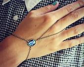 blue opal slave bracelet, blue opal hand chain, ring bracelet, slave ring, unique bracelet, opal ring