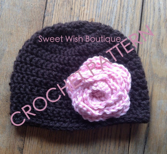 Easy Crochet Flower Patterns For Hats : Items similar to Easy Crochet Hat with flower PDF Pattern ...
