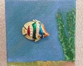 Fish Brooch - Unique Brooch Art - fish bowl - mini canvas art