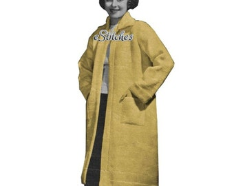 1930s Swagger Sports Coat Knee Length, Modeled by 1930s Movie Starlet -  Crochet pattern PDF 0344