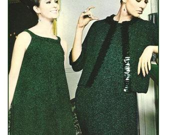 1960s A Line Sleeveless Dress with Jacket - 2 Knit patterns PDF 9922