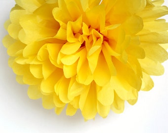 Yellow Tissue Paper Pom Poms- Wedding, Birthday, Bridal Shower, Baby Shower, Party Decorations, Garden Party