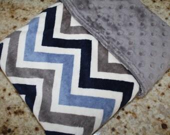 Baby Boy MINKY Blanket, Minky Baby Blanket, Boy Baby Blanket, Blue White Grey Chevron Baby Blanket,Blue Zigzag,Personalized Baby Boy Blanket