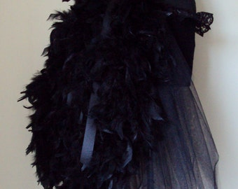 NEW Black Swan Feather Raven Burlesque Bustle Belt all sizes available