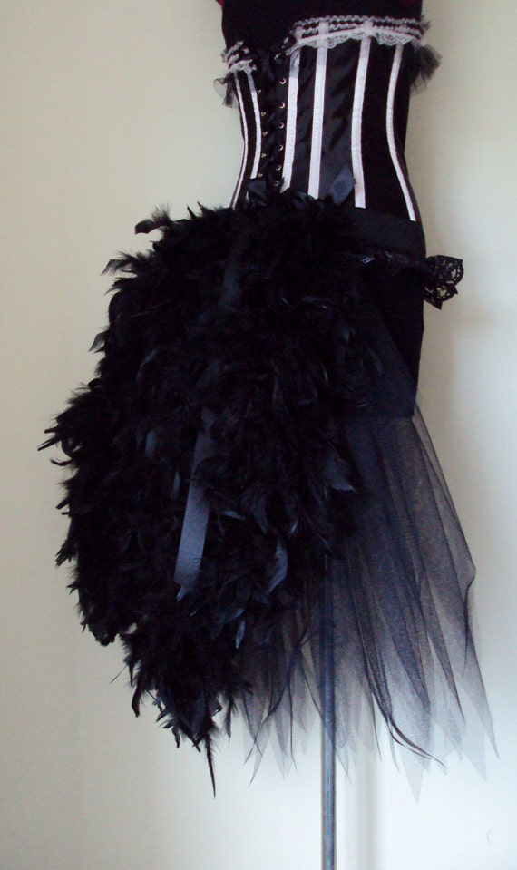 NEW Black Swan Feather Raven Burlesque Bustle Belt All Sizes