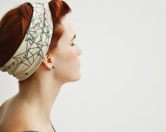 Stars and Splatter Headband - Hand printed Organic Stretch Cotton