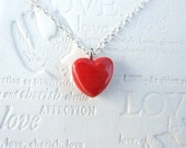 Red heart necklace, tiny red glazed ceramic