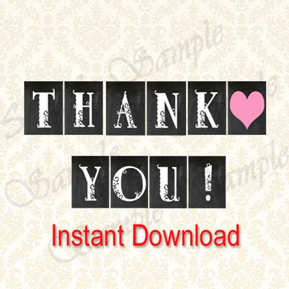 Fan image within thank you banner printable