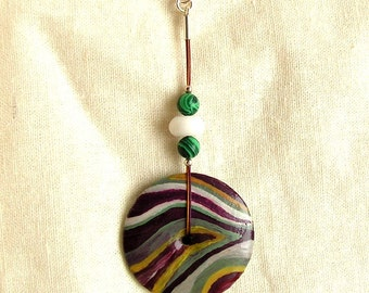 Hand painted carved wooden pendant agate malachite green purple yellow silver circle stripes waves jewelry