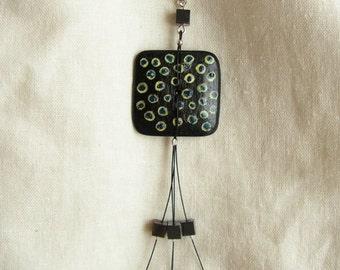 Hand painted wooden pendant with stones blu black unique hematite