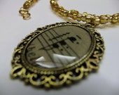 Music Necklace, Antique Sheet Music, Antique Gold Color