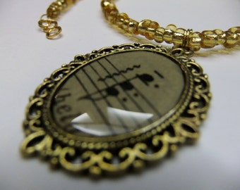 Music Necklace, Antique Sheet Music, Antique Gold Color