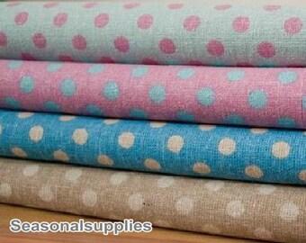 Cotton Linen Blended Fabric for craft, 10mm Polka Dotted Blue Pink Brown Color, Pink Blue Polka Dots,diy (QT211)