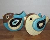 Vintage Retro Brown,Turquoise, and Cream Colored Ceramic Birds c1950s