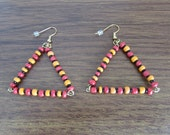 Dangle Earrings Gold Accented Red Black Orange Glass Seed Bead Triangle Free US Shipping