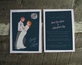 Night moon scene, Wedding Portrait Invitation : Printable