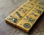 Wanli Drilled Mahjongg Tile Beads (1.25 in x .75 in) - Perfect for Asian Bracelets and Mini Resin Collages (12)