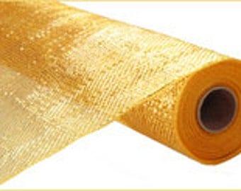 21 Inches X 10Yd Deco Mesh - 18K Gold Metallic Deco Mesh - Poly Mesh : RE103508