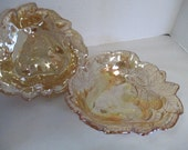 Vintage Carnival Art Glass Snack serving bowls set of 2 peach iridescent colored art glass blackberry pattern no markings