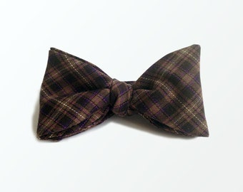 Brown Plaid Bow Tie Fathers Day and Birthday Gift / READY TO SHIP