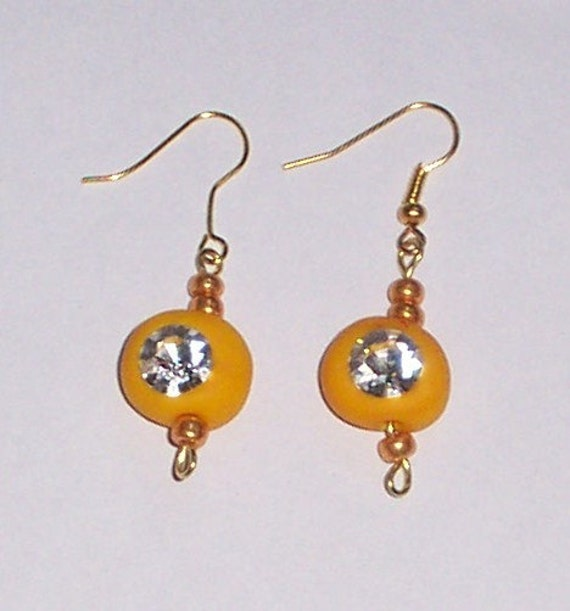 YELLOW  POLYMER clay CRYSTAL dangle earrings